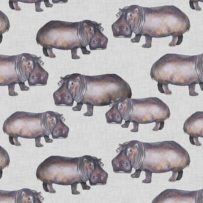 Hippos on Linen - Larger Scale
