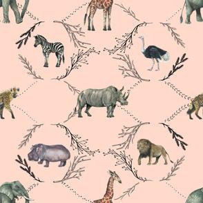 Safari Toile on Pink
