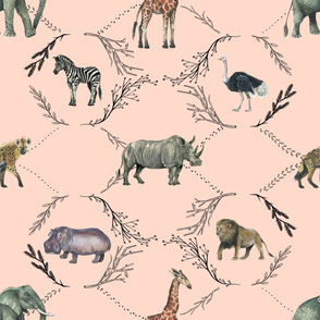 Safari Toile on Pink - Larger Scale