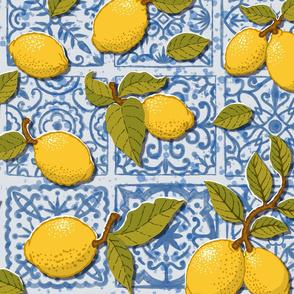 (Large)Lemons on Blue Tiles