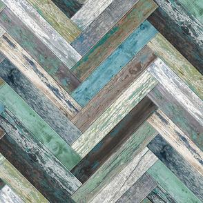 Reclaimed Boat Wood Chevron Tiles Green Blue Beige Grey Cream Brown Herringbone