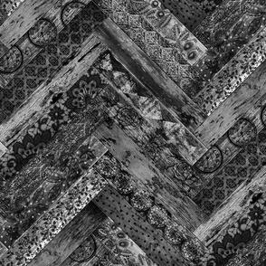 Vintage Wood Chevron Tiles Herringbone Black Grey