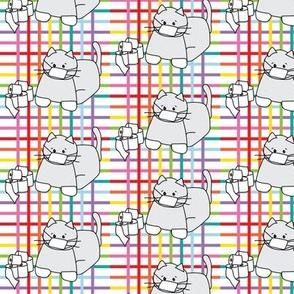 Corona Cat Plaid Rainbow