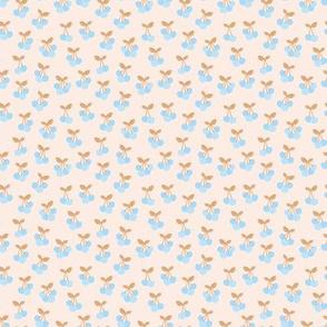 Tiny little boho cherries sweet summer garden Scandinavian style fruit nursery soft blue caramel off white sand XS
