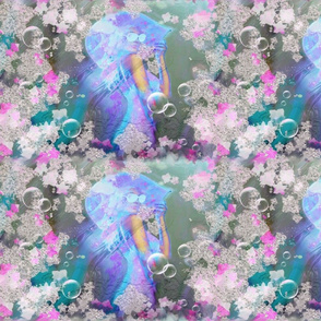 Neon disco Girl on gradient teal background with cute litlle Flowers border design