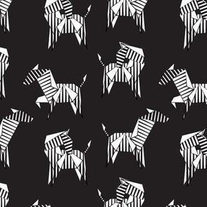 Small scale // Origami Zebras // black background black and white line art safari animals
