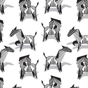 Small scale // Origami Zebras // white background black and white line art safari animals