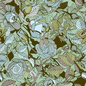 rose lineart florals | green