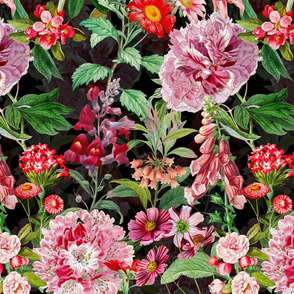 "14"" Vintage Botanical Pink Springflower Meadow  Black"