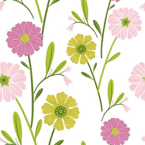 Zinnia Blooms - Pink and Yellow