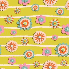Paper cut wheel flowers
