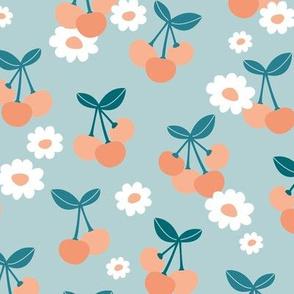 Sweet cherries and daisies summer fruit garden boho cherry and daisy design blue mint teal orange