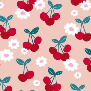 Sweet cherries and daisies summer fruit garden boho cherry and daisy design red pink