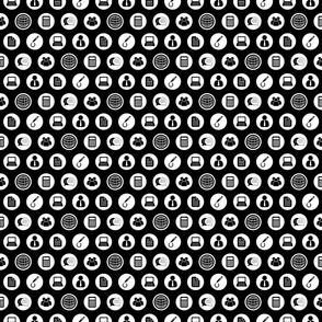 Business Icons Pattern in Black & White (Mini Scale)