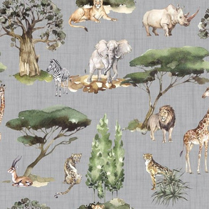 jungle animals gray linen