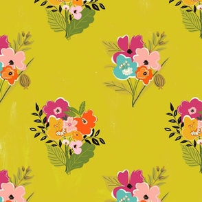Boho Chic Flowers Citron Green  TerriConradDesigns