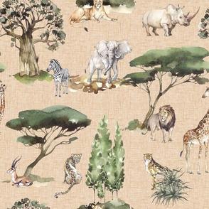 jungle animals on sand linen