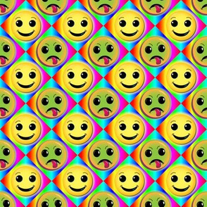 smiley & frownie on rainbow