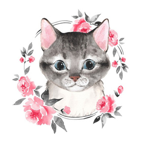 Gray cat and flowers. Fat quarter