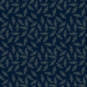 Fine leaves on dark blue