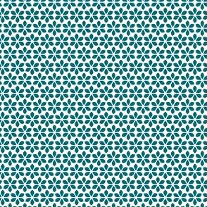 Star Petals - Teal / White (small)