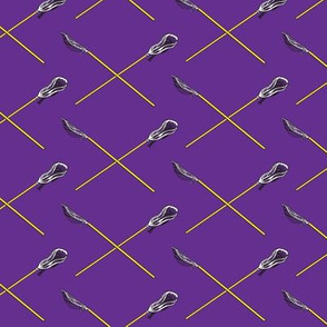Purple and Gold Crossed Lacrosse Sticks