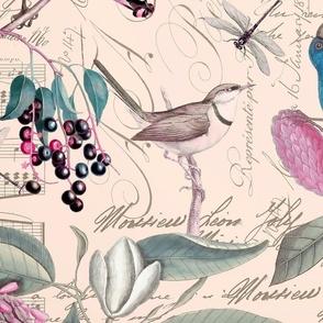 Vintage Magnolia And Birds Pink