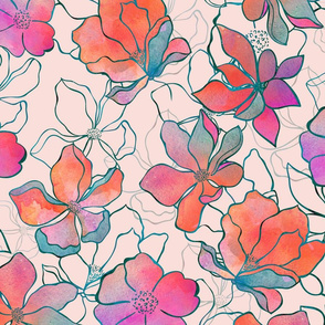 Watercolor And Line Art Flower Pattern