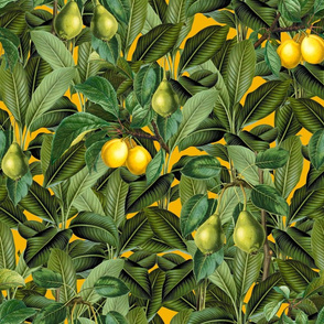 Green Leaf, Lemon And Pear Pattern