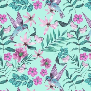Hummingbirds Pastel Paradise