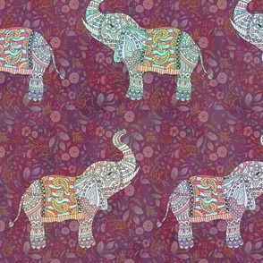 sweet pretty elephants on burgundy FLWRHT