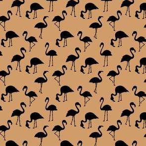 Minimalist style abstract flamingo boho birds neutral nursery trend monochrome caramel brown black