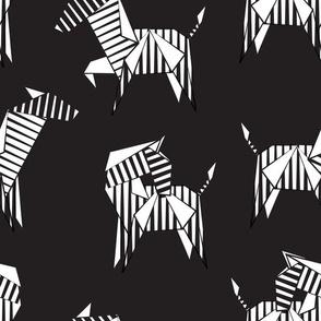 Normal scale // Origami Zebras // black background black and white line art safari animals