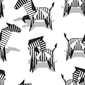 Normal scale // Origami Zebras // white background black and white line art safari animals