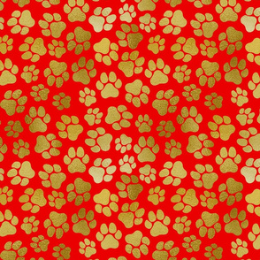 Gold Pawprints on Red