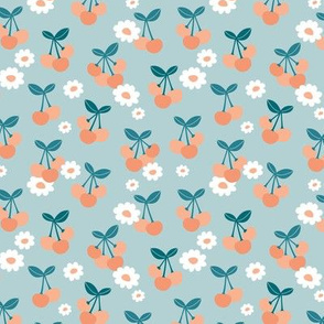 Sweet cherries and daisies summer fruit garden boho cherry and daisy design mint blue teal orange SMALL