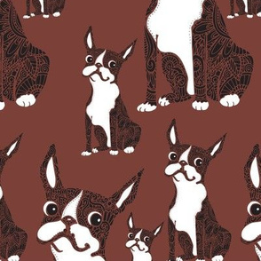 Boston Terriers Burgundy