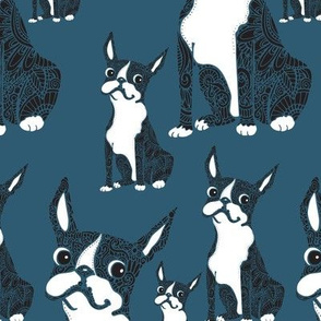 Boston Terriers Blue