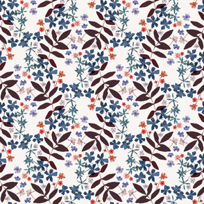 Pressed flowers and leaves blue
