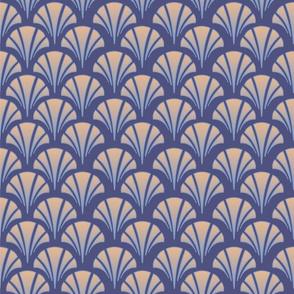 Art Deco Purple Pink Diamonds Patterned Shells Fans