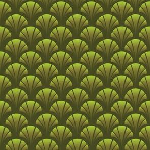 Art Deco Emerald Greens Diamonds Patterned Shells Fans
