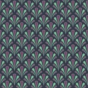 Art Deco Style Purple Teal and Blue Shells Fan Shape