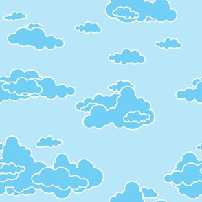 Fluffy Layered Clouds Blue Sky Silver Blue Lining