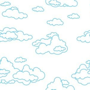 Fluffy Outlined Clouds White Sky Blue Lining