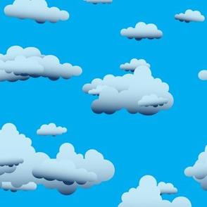 Fluffy Clouds Blue Sky