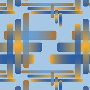 Woven Rounded Overlapping Rectangles Oranges Techno Blue Sky