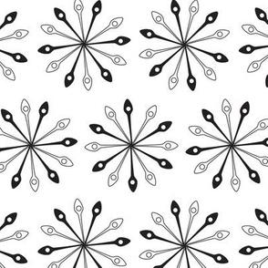 Mandala Star Shaped Abstract White Black Alternating Spoons