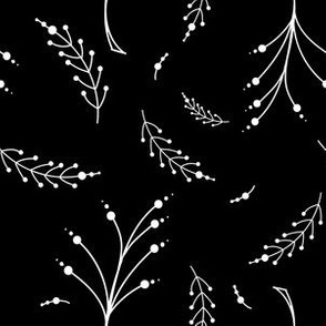 Organic Flowering Circle Plant Black and White Branches