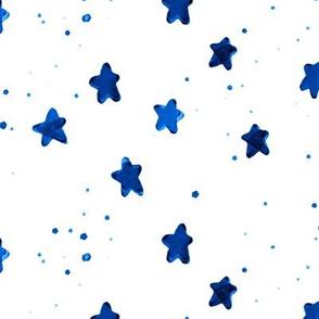 cobalt watercolor stars