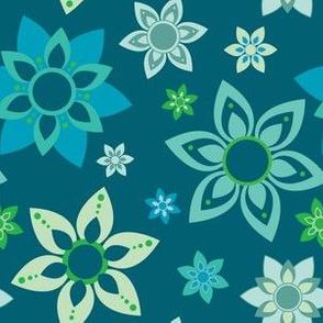 Blue and Green Minty Blue Mandala Flower Girl Power